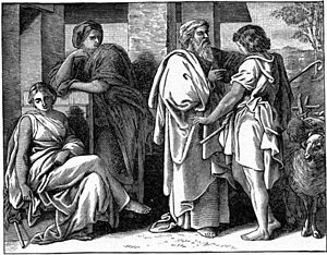 Jacob Talks with Laban (illustration from the ...