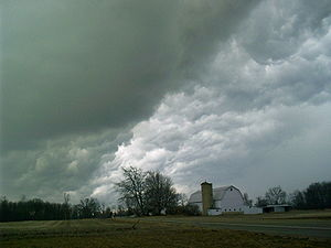 Severe thunderstorms containing hail can exhib...