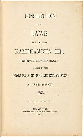 1852 Constitution Of The Hawaiian Kingdom Wikipedia