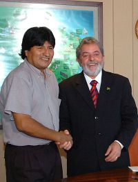 Morales with Brazilian President Lula