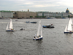 Saint Petersburg. Yachts on Neva river. On the...