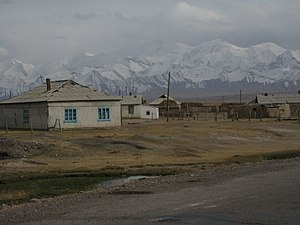 A view of Sary Tash village, in Kyrgyzstan. Be...