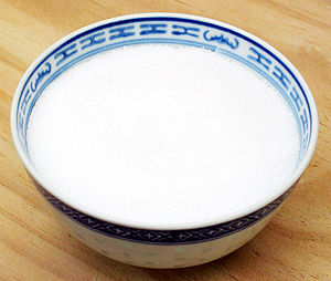 This is a bowl of white sugar.