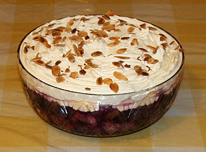 A trifle made in Derby, England to welcome in ...