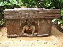 A front view of Altar 4 at the La Venta Olmec site, courtesy of Ruben Charles.