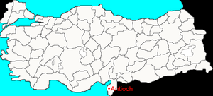 Location of Antioch, in present Turkey. Map wi...