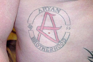 English: Aryan Brotherhood tattoo.