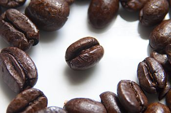 English: Roasted coffee beans photographed usi...