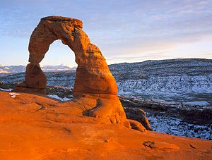 The Delicate Arch, a natural arch in Moab, Utah