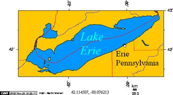 English: Erie PA on Lake Erie latitude 42.1145...