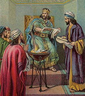 English: Jehoiakim Burns the Word of God; as i...