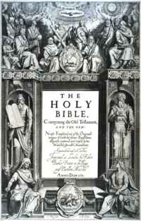 "The title page's central text is:""THE HOLY BIBLE,Conteyning the Old Testament,AND THE NEW:Newly Translated out of the Originall tongues: & with the former Translations diligently compared and revised, by his Majesties speciall Comandement.Appointed to be read in Churches.Imprinted at London by Robert Barker, Printer to the Kings most Excellent Majestie.ANNO DOM. 1611 .""At bottom is:""C. Boel fecit in Richmont.""."