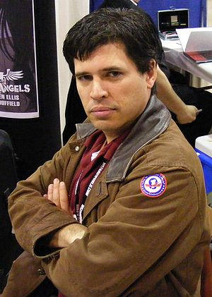 Max Brooks shows off his Rocket Llama patch at...