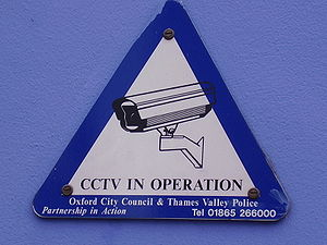 'CCTV in operation' sign in a street in Oxford...