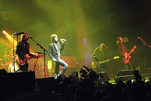 A photograph of Australian rock band Powderfin...