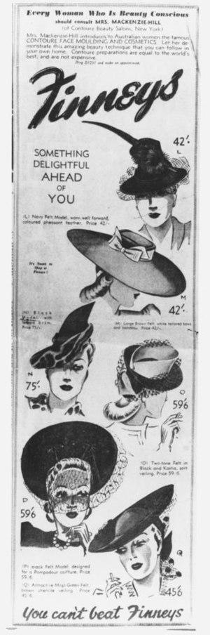 English: Advertisement for women's felt hats f...
