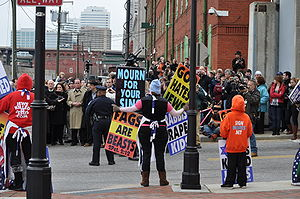 Members of Westboro Baptist Church demonstrate...