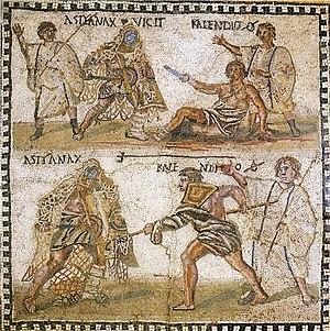 Mosaic, 4th century BC, showing a retiarius or...