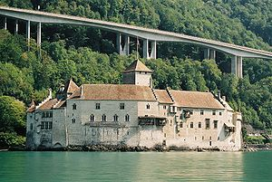 Chillon Castle seen from Geneva Lake