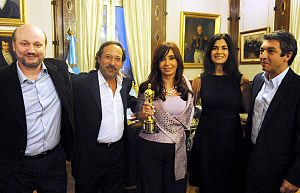 English: From left to right: Argentine filmmak...