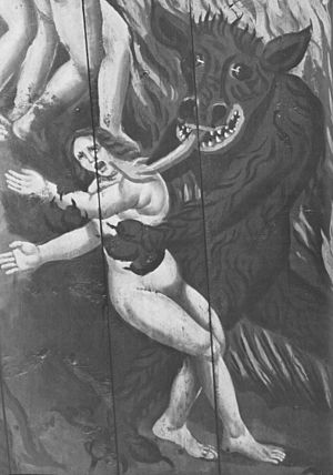 English: The devil captures a woman. Detail of...
