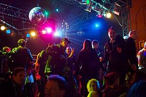 English: Open air disco dance in Berlin