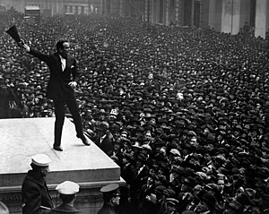 Douglas Fairbanks, movie star, speaking in fro...