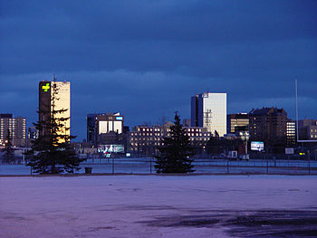 Downtown Regina, Saskatchewan, at dusk