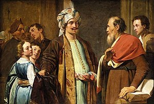 Elisha (right) Refusing Gifts from Naaman