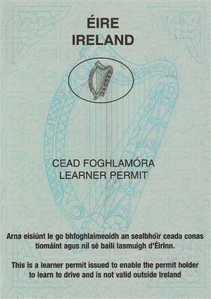 An Irish learners permit which is issued to be...