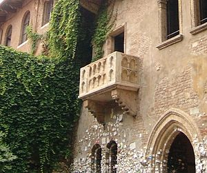 Juliet's purported balcony, in Verona. Beneath...