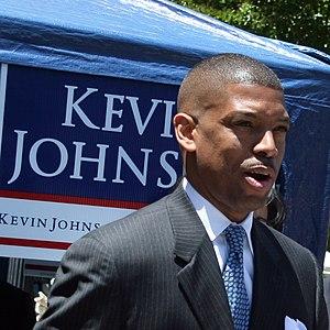 Kevin Johnson at a mayoral rally on 28 May 200...