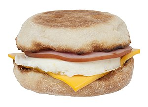 English: An Egg McMuffin breakfast sandwich fr...