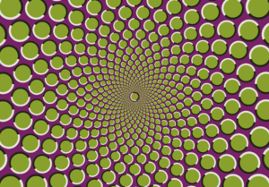 This is an optical illusion in which a static ...