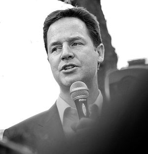 Clegg speaking at De Montfort University, Leic...
