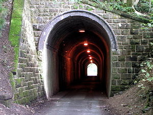 English: Old railway tunnel - new road tunnel....