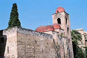 San Giovanni degli Eremiti, red domes showing ...