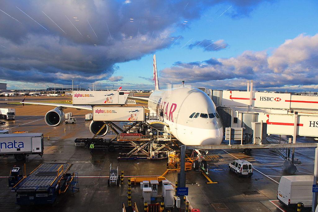 FileQatar Airways Airbus A380800 at Heathrow Airport
