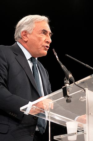 Dominique Strauss-Kahn at a political rally he...