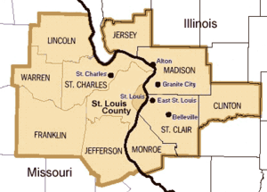 St. Louis MSA, the 5 counties in Illinois are ...