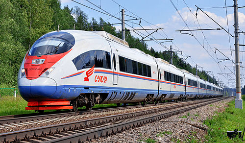 «Sapsan» train on the Moscow — Saint Petersburg route (photo by Sergey Korovkin, via Wikimedia Commons)