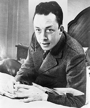 Albert Camus, Nobel prize winner, half-length ...
