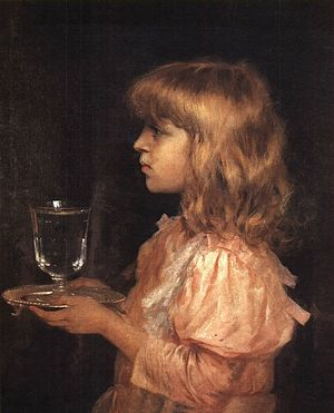 The glass of water