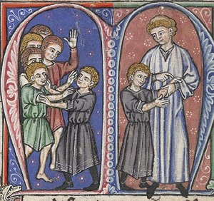 English: Miniature from a French translation o...