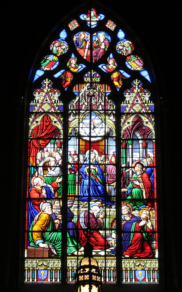 FileBasilica of the Sacred Heart Notre Dame Indiana  interior stained glass Pentecostjpg