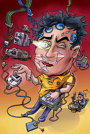 Cartoon of a man being checked on biometric fe...