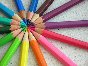 An assortment of colored pencils