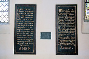 English: Dalham Church interior These boards, ...