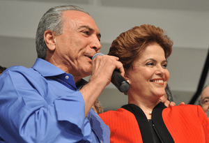 English: Dilma Rousseff with her running mate ...