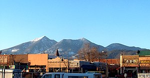 View of downtown Flagstaff on U.S. Route 66 wi...
